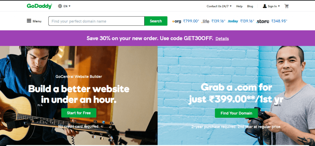 Godaddy - cheapest domain registration platform from last 10 years