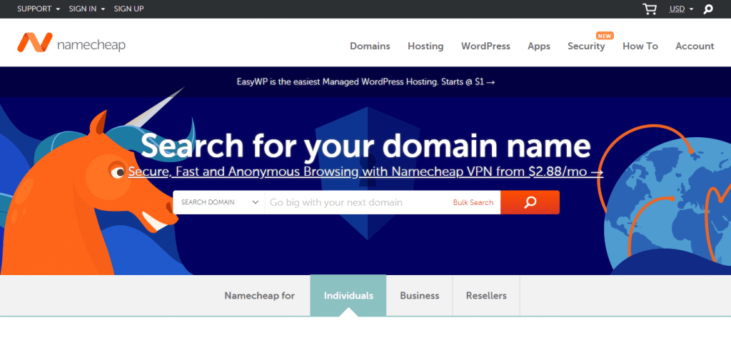 Namecheap - listed as best domain registrar on reddit