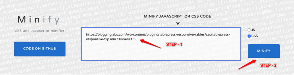 how to minify scripts and css