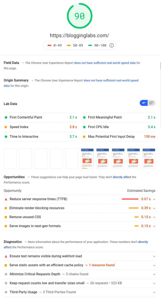 google-pagespeed-insights-demo
