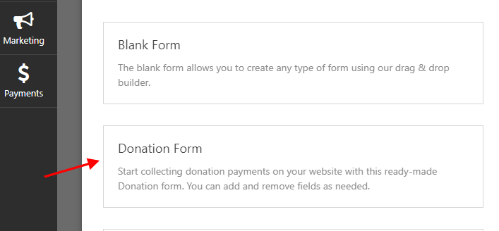 choose donation form